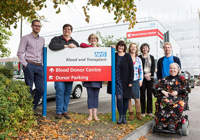 Arriving for staff blood donation at donor centre Southmead, 27/09/2017