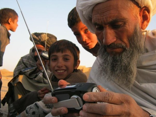 RFERL distributing radios in Shaidave Province Afghanistan, in 2010