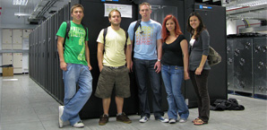Group of students with Blue Crystal supercomputer.