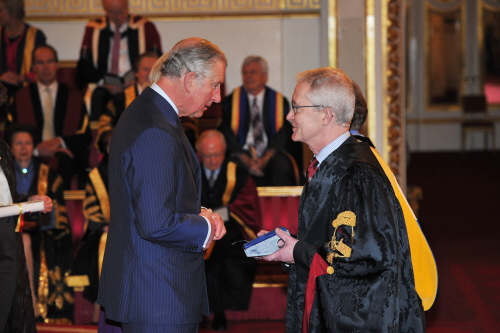 Queens Anniversary Prize.  HRH Prince Charles presents the Queen's Anniversary Prize for Higher Education to Professor Hugh Brady, Vice-Chancellor and President of the University of Bristol