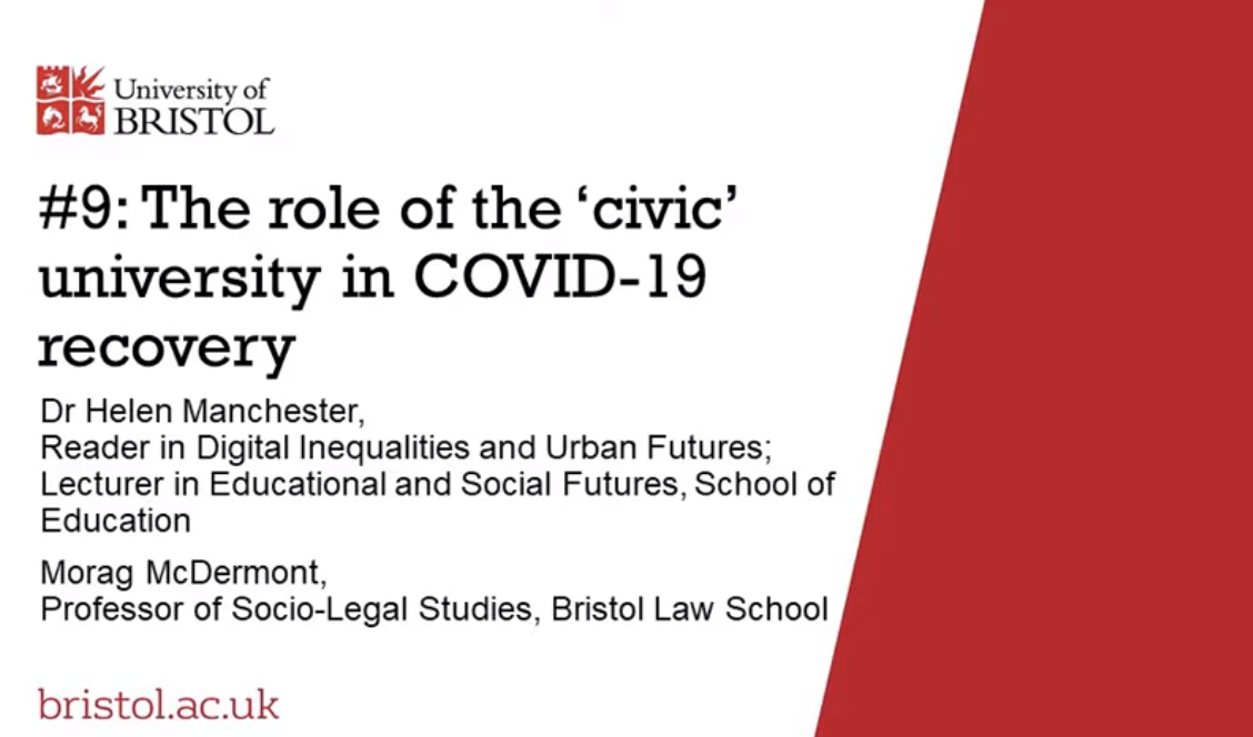 Talk 'The role of the 'civic' university in 'Covid-19 recovery',  Dr Helen Manchester and Professor Morag McDermont