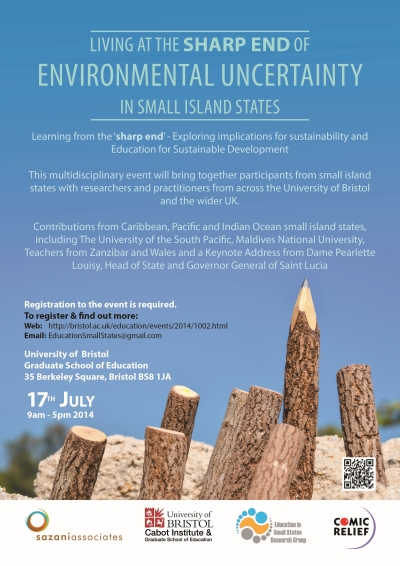 Publicity Poster (small image) of the 17 July 2014 Day Conference Living at the Sharp End of Environmental Uncertainty in Small Island States