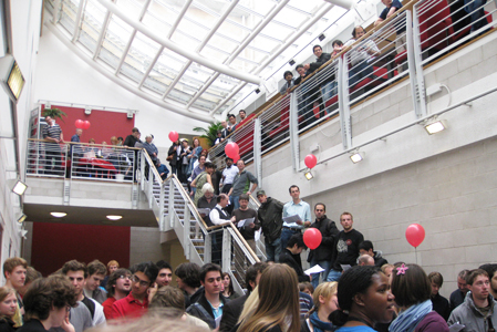 Crowds at the auction in MVB's Atrium