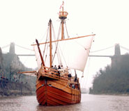 A replica of John Cabot's ship, the 'Matthew' sailing on the Avon