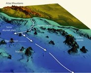 Bathymetric image showing the ocean floor off the northwest coast of Africa.