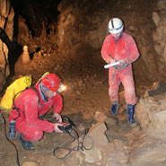Prof Zilhao (standing on right) in the cave
