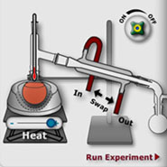 A screenshot from an interactive Flash simulation that helps students explore scientific and safety aspects of distillation experiments.