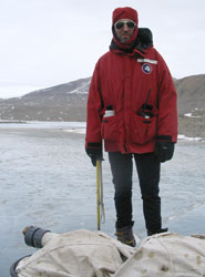 Professor Martyn Tranter doing fieldwork in Antarctica.