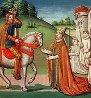 Pope Hadrian I (standing) seeking advice from Charlemagne