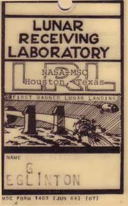 Professor Eglinton's Lunar Receiving Laboratory pass