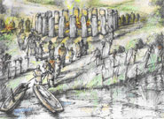 Artist's reconstruction of Bluestonehenge