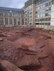 A view of the excavation site behind the University of Bristol's H. H. Wills Physics Laboratory