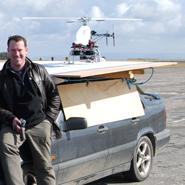 Dr Tom Richardson with the Unmanned Aerial Vehicle (UAV)