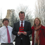 From left to right, Ed Sparks (Roke Manor), Tom Richardson with the award (Aero, Bristol Uni), Emma Brassington (Roke Manor).