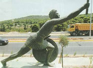 The statue of Philippides on the Marathon Road
