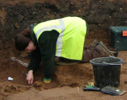 Dr Heidi Dawson at work excavating a cemetery in Taunton