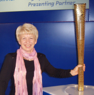 Shirley Hume with the Olympic torch