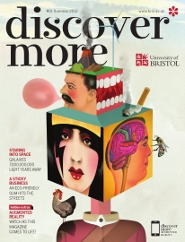 The front cover of Discover More, with an illustration by Brett Ryder