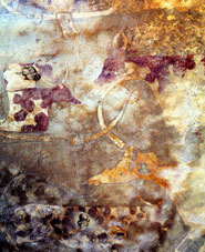 A fresco of painted cattle at the wadi Imha, site 03/705, in the Tadrart Acacus Mountains, Libyan Sahara. Numerous rich and vivid rock art images depicting scenes of cattle are found widely across north Africa, dating from at least 7,000 years ago