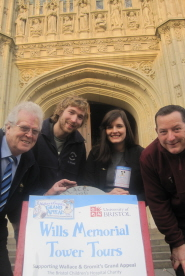 Dave and Jim Skelhorne, Lauren Vincent and Gary Nott outside Wills Memorial Building