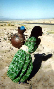 An Ethiopian woman carries water home from the village tap