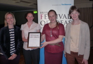 The winning team, pictured l-r: Becky Coffin (Meadow Bristol), Dr Katherine Baldock (Urban Pollinators Project), Teija Ahjokoski (Meadow Bristol) and Professor Jane Memmott (Urban Pollinators Project)