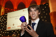 Tom Carter, from Ultrahaptics, collects the New Enterprise Award