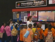School children take a look at the exhibition in Bangkok