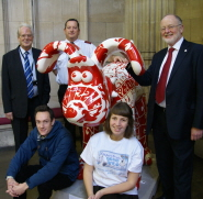 Back, l-r: Dave Skelhorne and Gary Nott, organisers of the Tower Tours, and Professor David Clarke, Deputy Vice-Chancellor of the University of Bristol. Front, l-r: Illustrator Leigh Flurry and Amy Ryder, Community and Events Fundraiser at the Grand Appeal