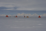 Antarctic field camp located on the ice sheet surface directly over the hidden Ellsworth trough