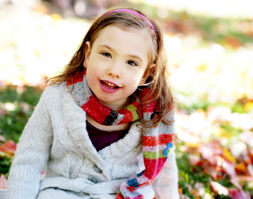 A young girl who suffers from Rett syndrome