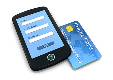 Image of a mobile phone and a credit card