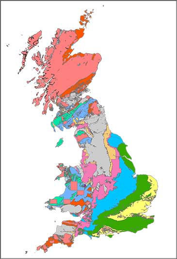 Image of a map showing the geology of Great Britain spanning the past 550 million years
