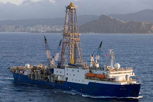 Image of JOIDES Resolution, a scientific drilling ship used by the Integrated Ocean Drilling Program