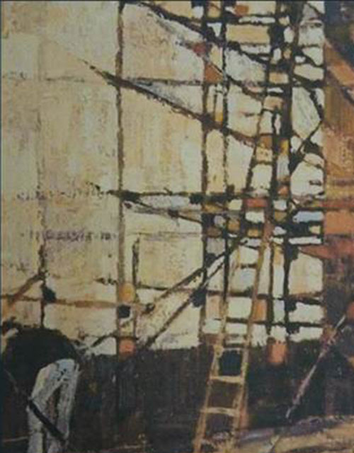 Image of Scaffolding Around a Tower by Peter Folkes RWA, 1963 Oil on board © RWA
