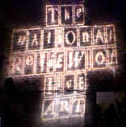 National Review of Live Art logo projected