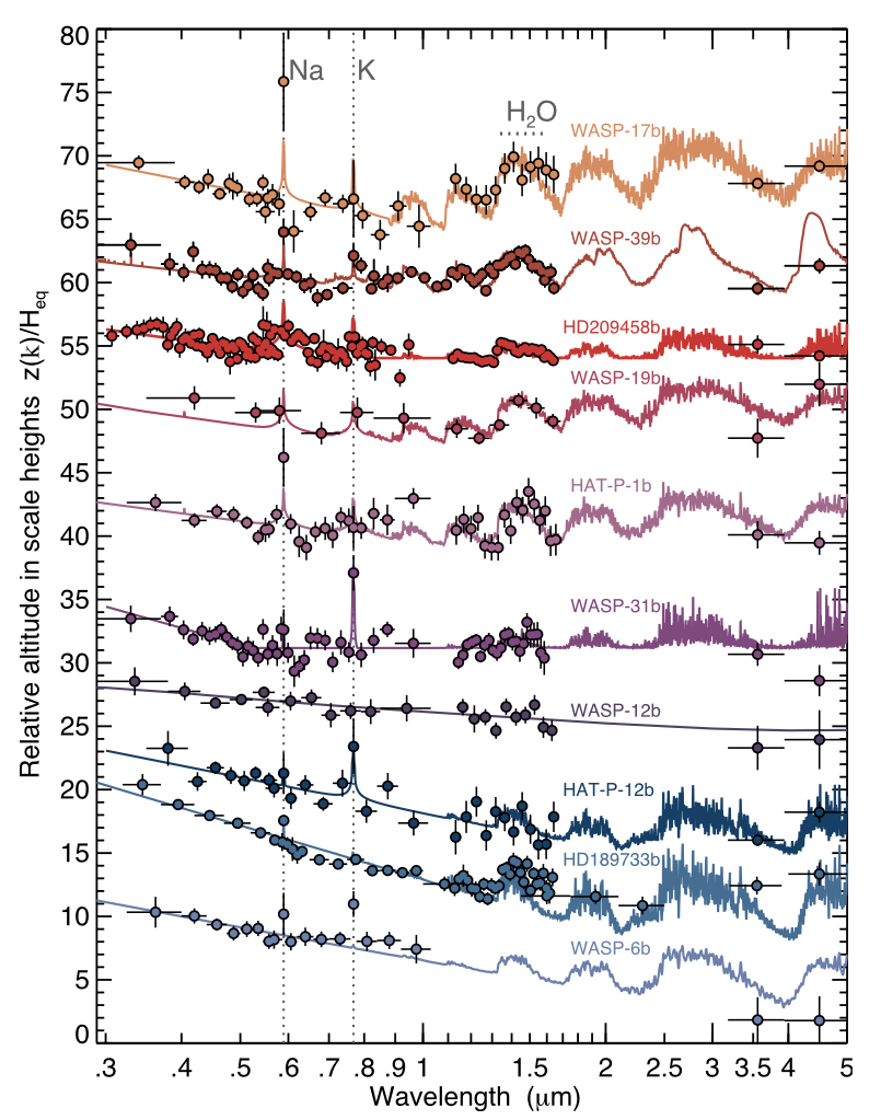 Atmospheric spectra of 10 hot Jupiter exoplanets measured with the Hubble Space Telescope.
