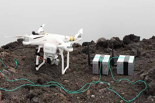 The drone sat alongside the silver 'dragon eggs' at the top of the Stromboli volcano in Italy.