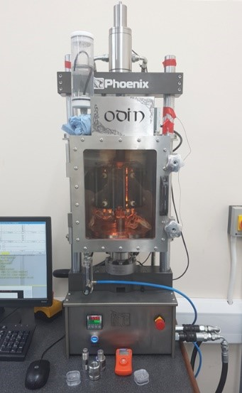 "Image of the ODIN mechanical testing rig in UKAEA's ""interim"" Materials Technology Laboratory. A sister facility is coming online at Bristol with new capabilities. Enabling novel research avenues while retaining strong collaboration and knowledge sharing opportunities."