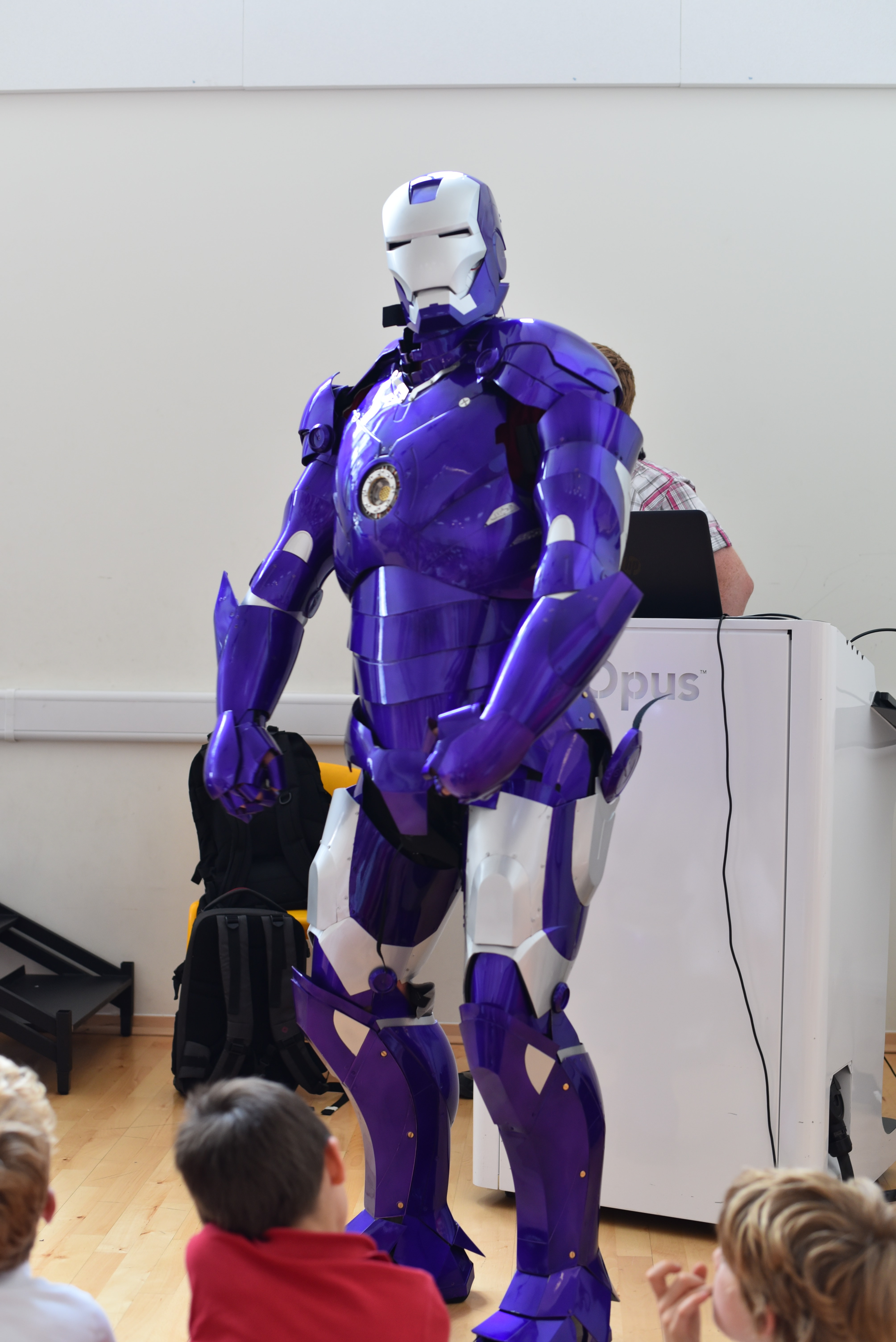 Ironamn suit at southville school - robotics outreach