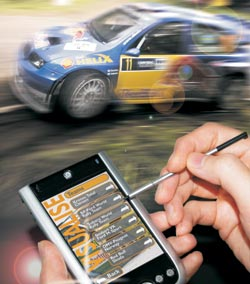 PDA and racing car picture, to demonstrate application of the VISUALISE technology.