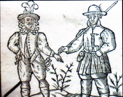 Early felt hats from the 1635 edition of Robert Greene 'A Quip for an Upstart Courtier' (1592)