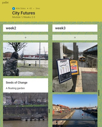 Screenshot of Padlet board containing images of Bristol harbourside