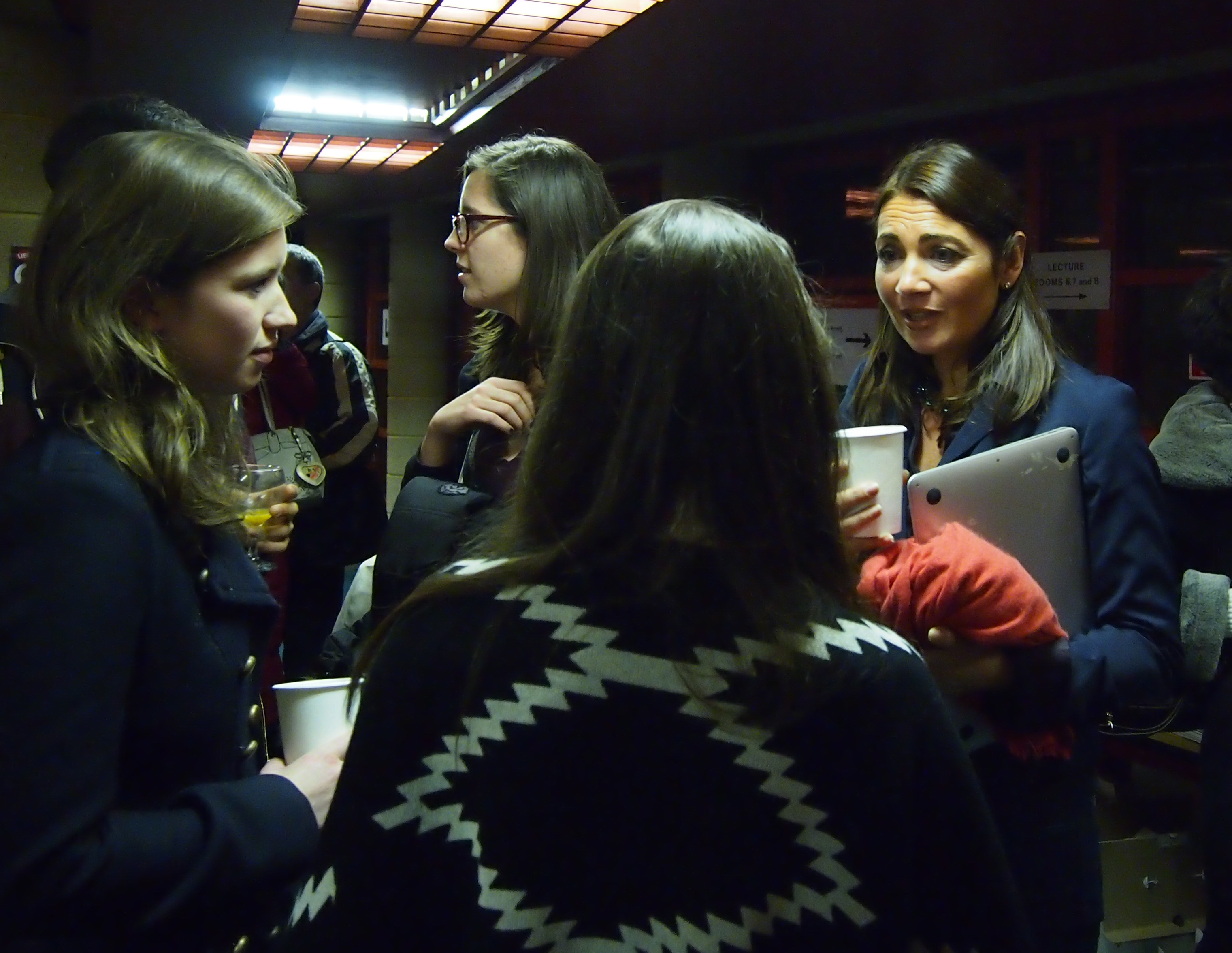 Katya Adler talking to students after the lecture