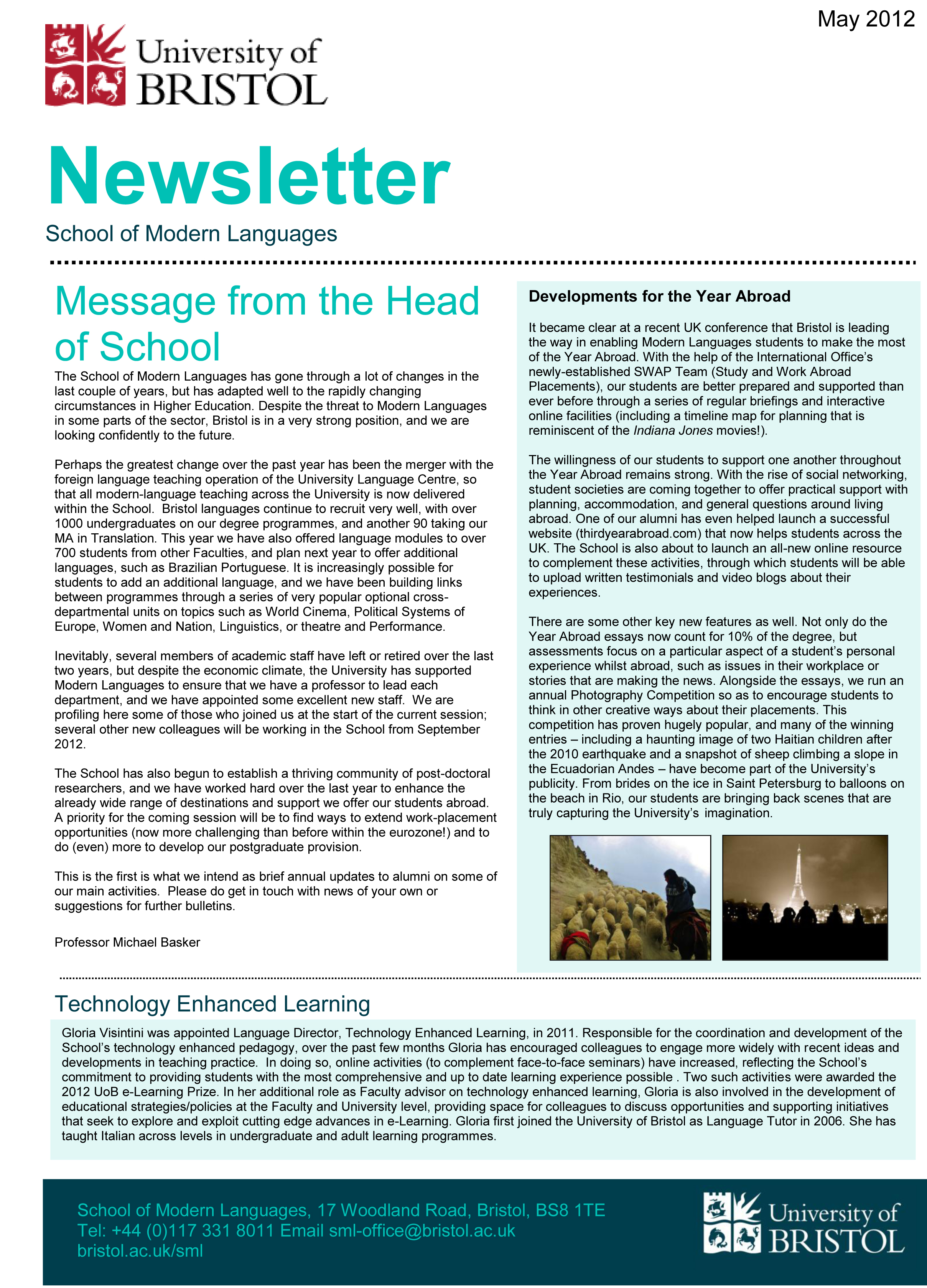 2012 Newsletter May 2012 School Of Modern Languages