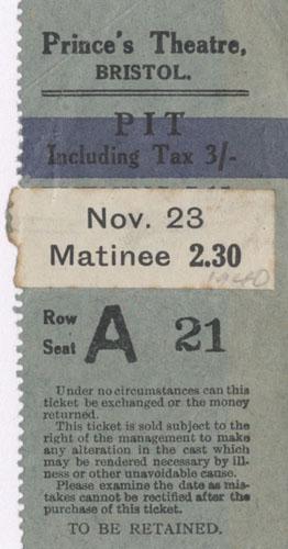 Theatre ticket stub