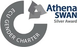 Athena Swan silver award logo with 'ECU Gender Charter' written across the banner on the side.
