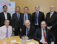 Back row, l-r: Salman Malik, Andy Heaton, David Sykes, Neil Hickey and Greville Commins. Front row, l-r: Nick Sturge, Vince Cable and Stephen Williams