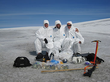 Image of Stefanie Lutz, Professor Liane G. Benning and Dr Alexandre Anesio on the Mittivakkat Glacier in Greenland