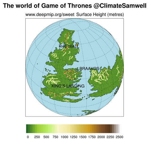 December climate game of thrones news university of bristol the world of game of thrones showing the positions of the continents over the globe light blue represents the ocean and the colour scale over the gumiabroncs Images